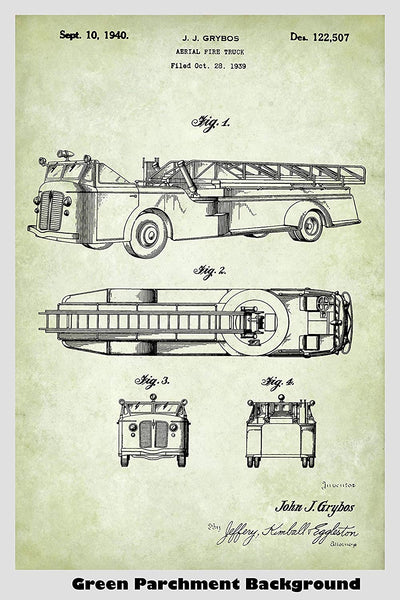 Aerial Fire Truck Poster Patent Art Print