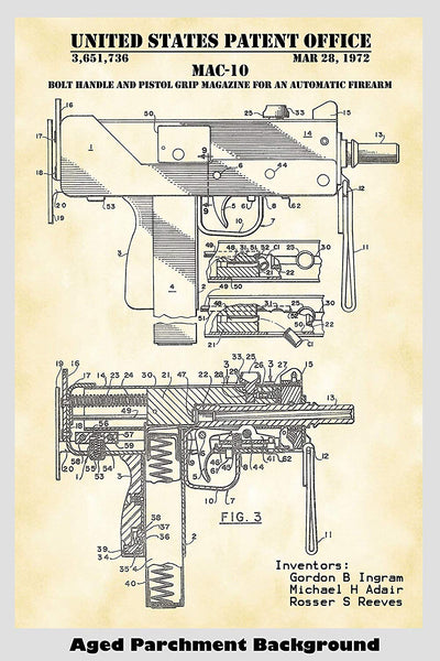 Mac-10 Uzi Automatic Firearm Patent Print Art Poster