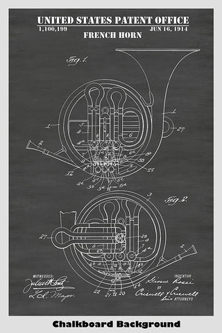 French Horn Patent Print Art Poster