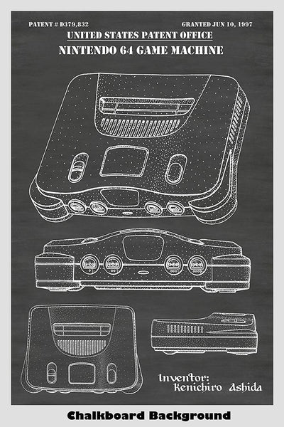 Nintendo 64 Game Console Patent Print Art Poster