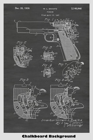 Colt Pistol Firearm Patent Print Art