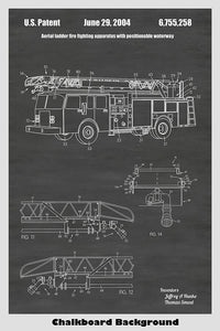 Aerial Ladder Apparatus for Fire Truck Patent Print Art