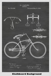 Vintage Gatling Bicycle Patent Print Art Poster