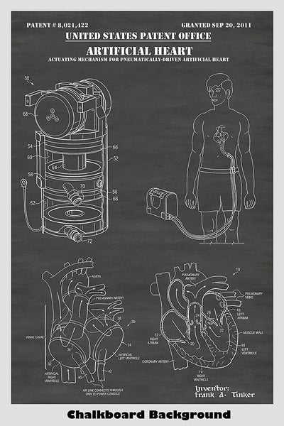 Poster of artificial heart in a human body