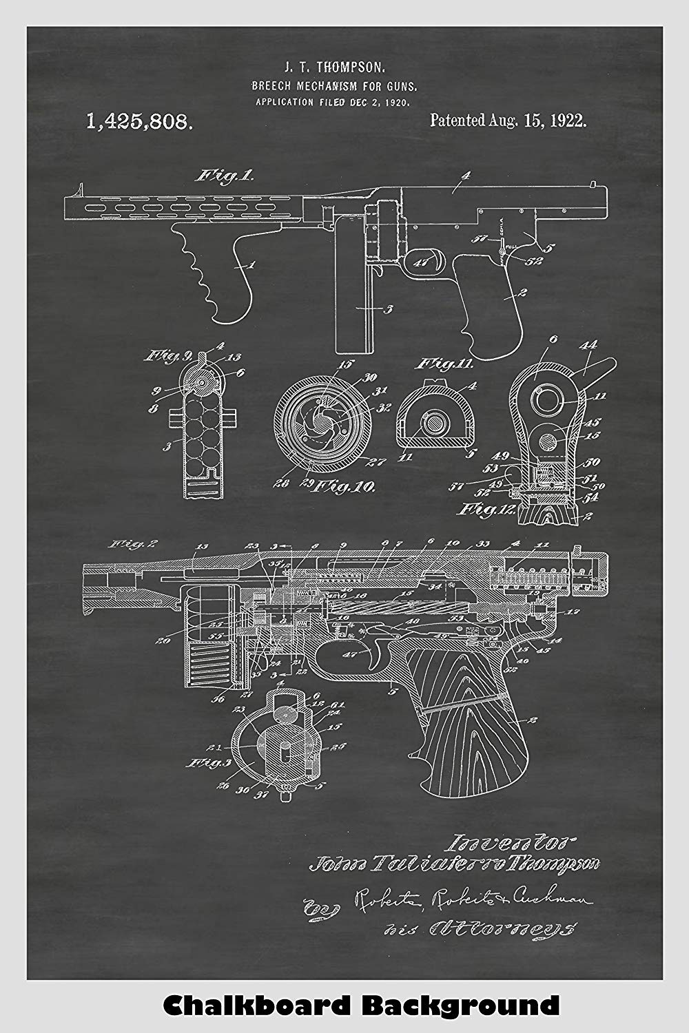 Tommy Gun: Thompson Submachine Gun Patent Print Art Poster