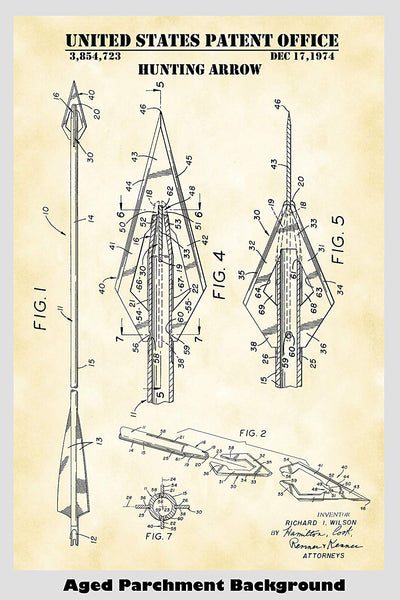 Hunting Arrow Patent Print Art Poster