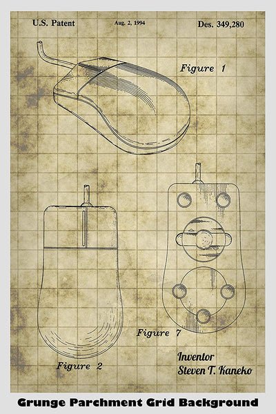 Computer Mouse Patent Print Art Poster