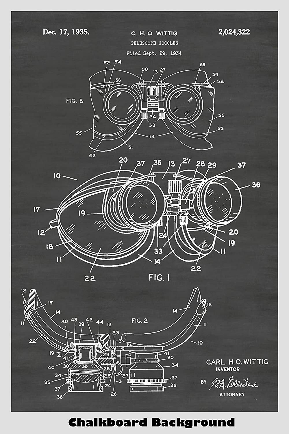 Steampunk Telescope Goggles Patent Print Art Poster