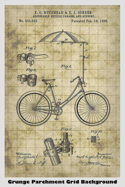 Antique Victorian Era Bicycle With A Built In Sun Umbrella Patent Print Art Poster
