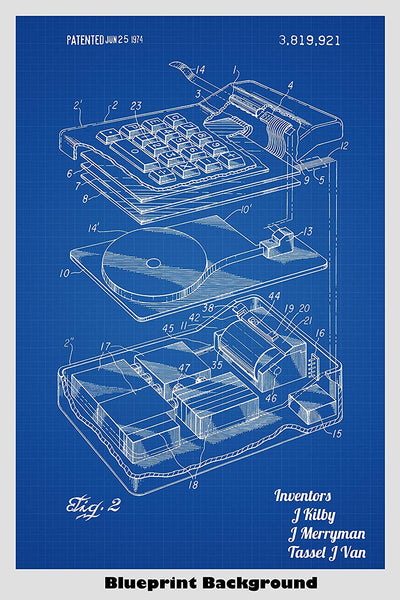 Early Electronic Calculator Patent Print Art Poster