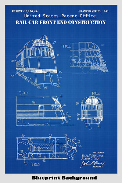 Zephyr Train Car Patent Print Art Poster