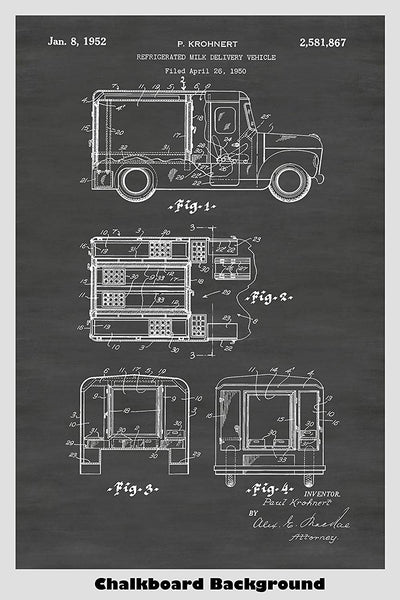 Refrigerated Milk Truck Poster Patent Print Art Poster