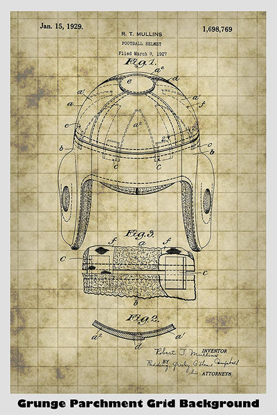 Antique Football Helmet Patent Print Art Poster