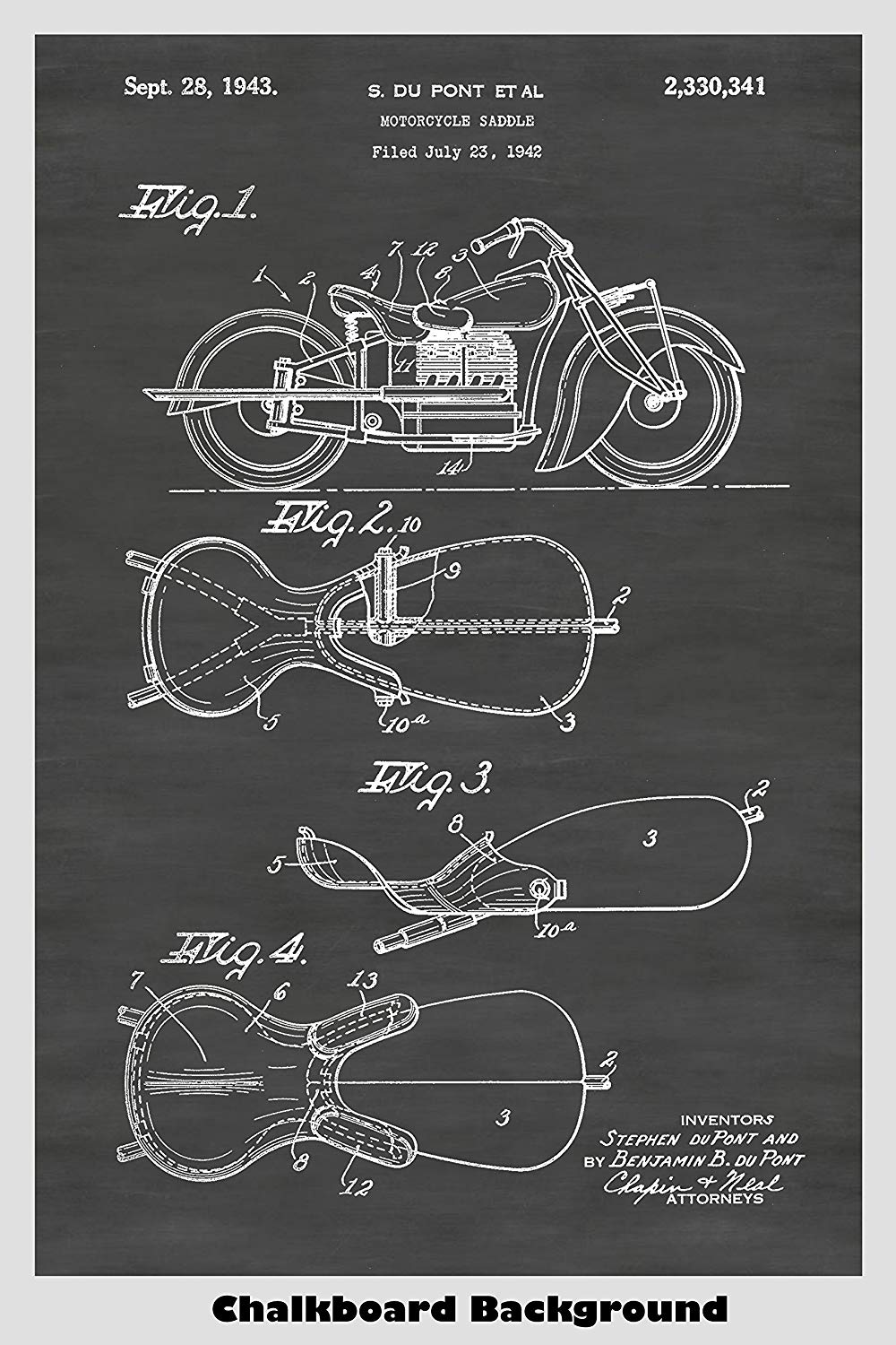 Indian Motorcycle Patent Print Art Poster
