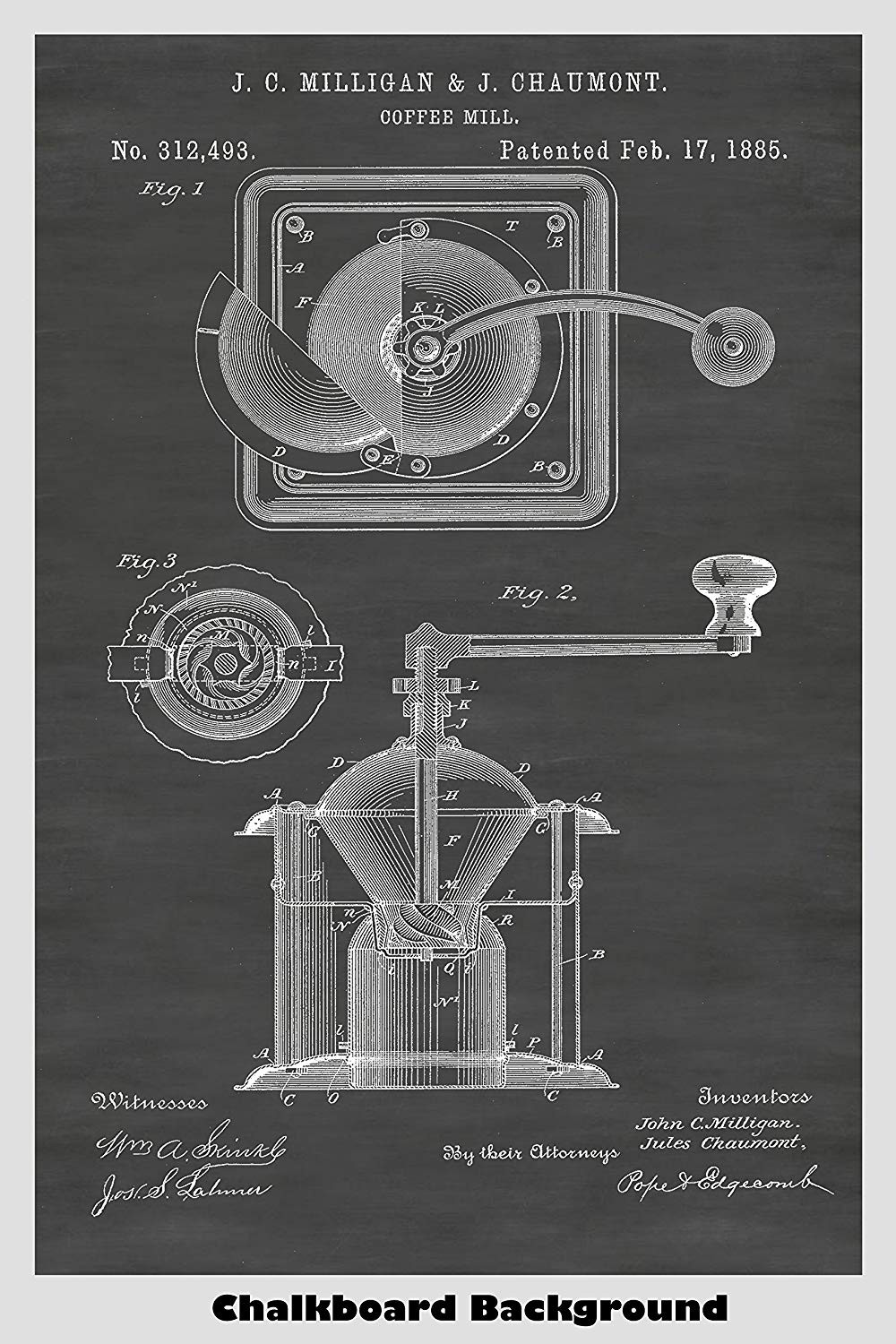 Vintage Coffee Grinder Mill Patent Print Art Poster