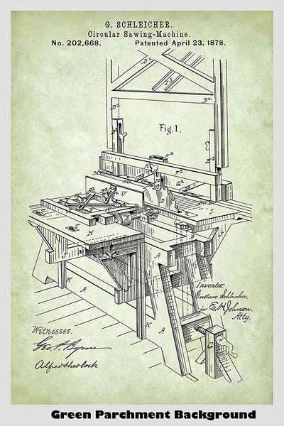 Table Saw Patent Print Art Poster