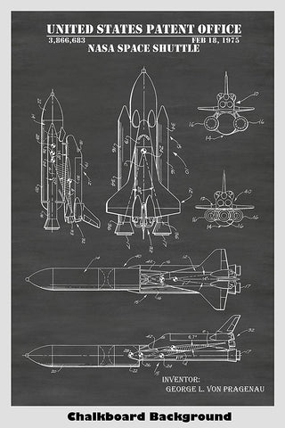 NASA Space Shuttle Rocket Ship Patent Print Art Poster