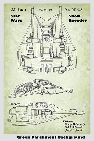 Star Wars Snow Speeder Patent Print Art Poster