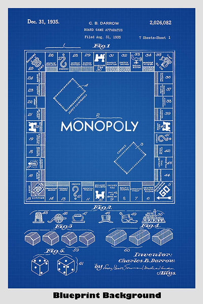 Monopoly Board Game Patent Print Art Poster