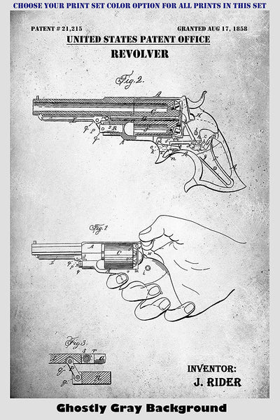 Remington Revolver and Rifle Patent Print Art Posters Wall Decor Collection