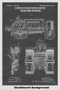 Farm Tractor and Engine Design Patent Print Art Poster