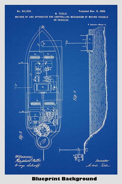 Nikola Tesla Radio Controlled Vehicle (Drone) Patent Print Art Poster