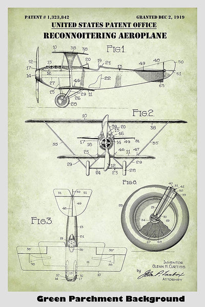 Vintage Military Reconnaissance Biplane Airplane Patent Print Art Poster