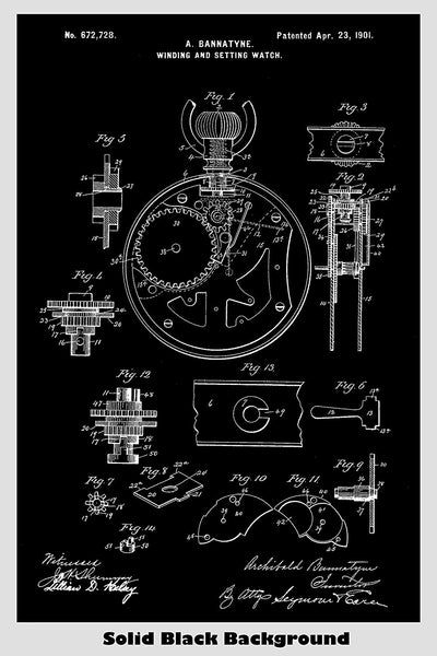 Vintage Pocket Watch Patent Print Art Poster