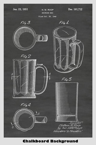 Design Patent of a beer mug shown on a chalkboard background poster
