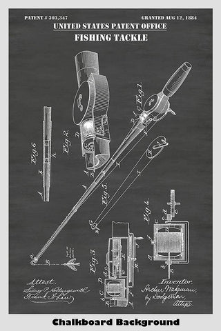 Victorian Era Fishing Tackle Patent Art On a Chalkboard Background