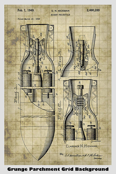 Rocket Projectile RPG Patent Print Art Poster