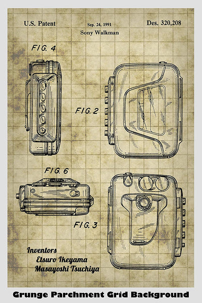 Sony Walkman Cassette Tape Player System Patent Print Art Poster