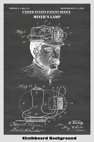 Steampunk Style Miner's Lamp Patent Artwork on a Chalkboard Background
