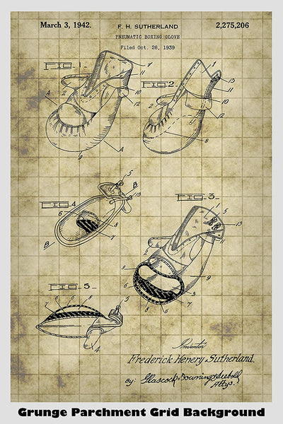 Boxing Gloves Poster Patent Print Art Poster