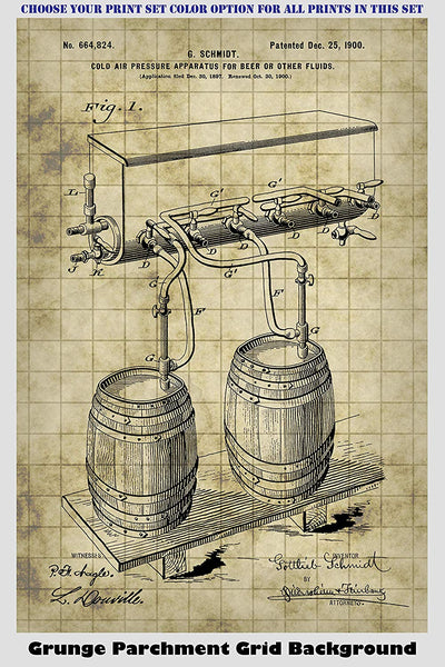 Vintage Beer & Beer Brewing Patent Print Art Posters Wall Decor Collection