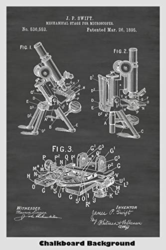 Antique Microscope Patent Poster In A Chalkboard Background