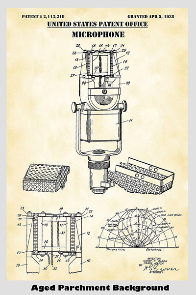 Microphone Patent Print Art Poster