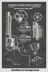 Mason Colt Revolver Patent Print shown in a chalkboard background