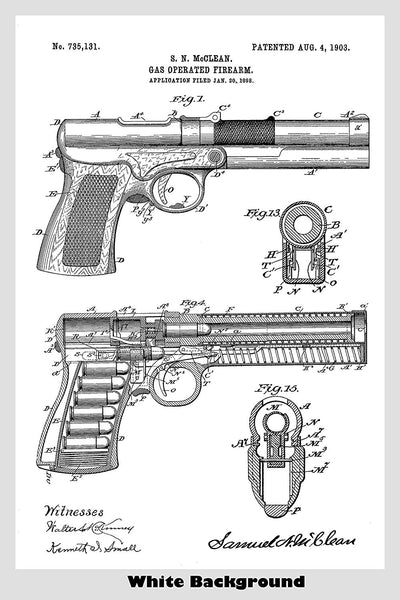 Gas Operated Pistol Patent Print Art Poster