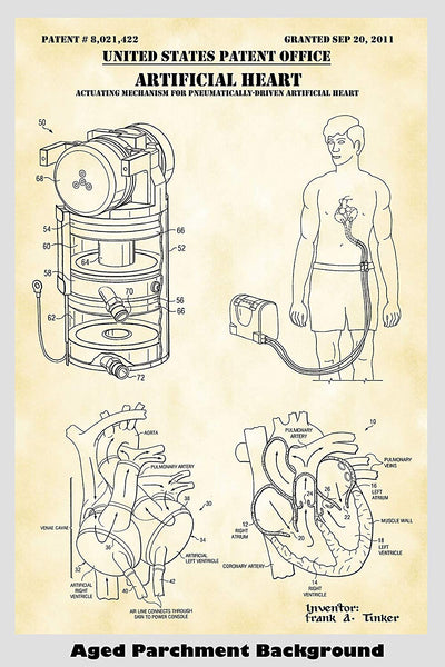 Artificial Heart Patent Print Art Poster