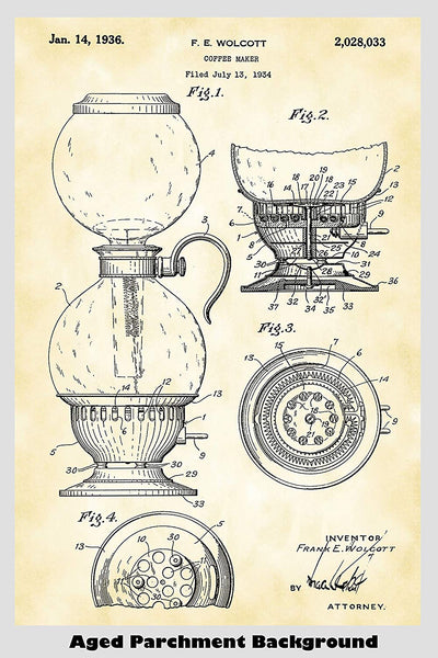 Vacuum Coffee Maker Patent Print Art Poster