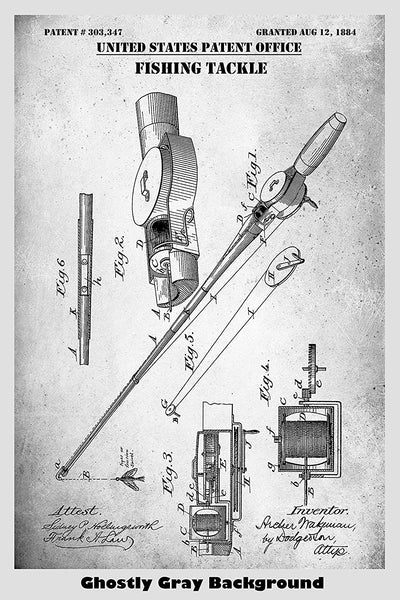 Antique Fishing Tackle Patent Print Art Poster