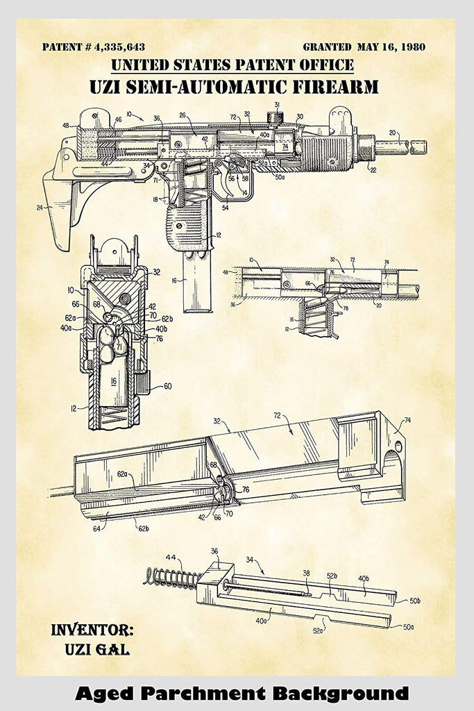 uzi automatic firearm patent print art poster \u2013 patent prints and  moreuzi automatic firearm patent