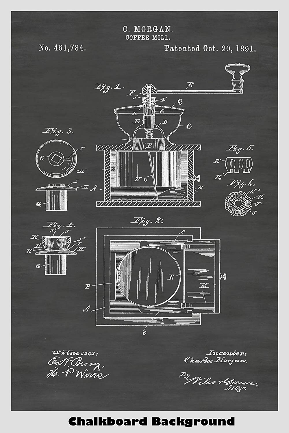 Manual Coffee Mill Patent Print Art Poster