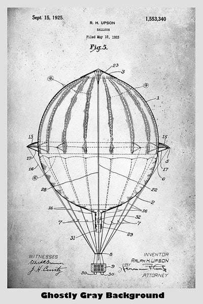 Hot Air Balloon Patent Print Art Poster