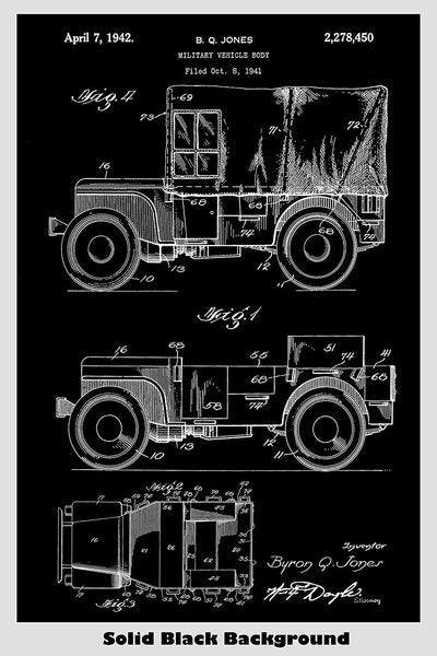 Jeep Willys Patent Print Art Poster