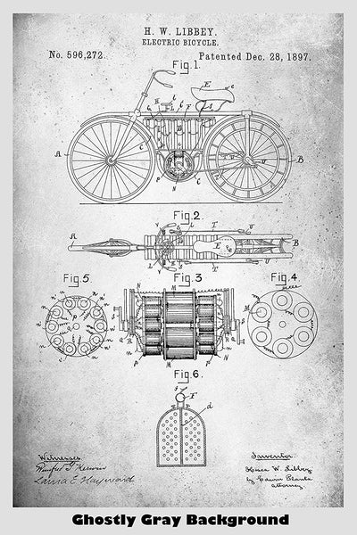 Antique Electric Bicycle Patent Print Art Poster