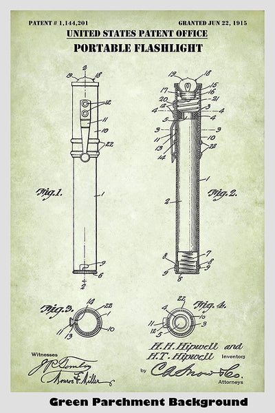 Flashlight Patent Print Art Poster