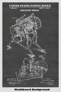 Victorian Era Printing Press Patent Print Art Poster: