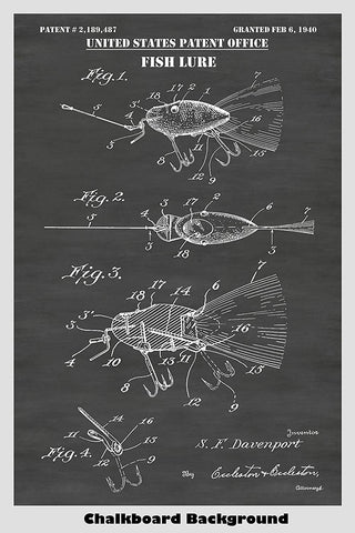 Vintage Artificial Fishing Lure Patent Print Art Poster